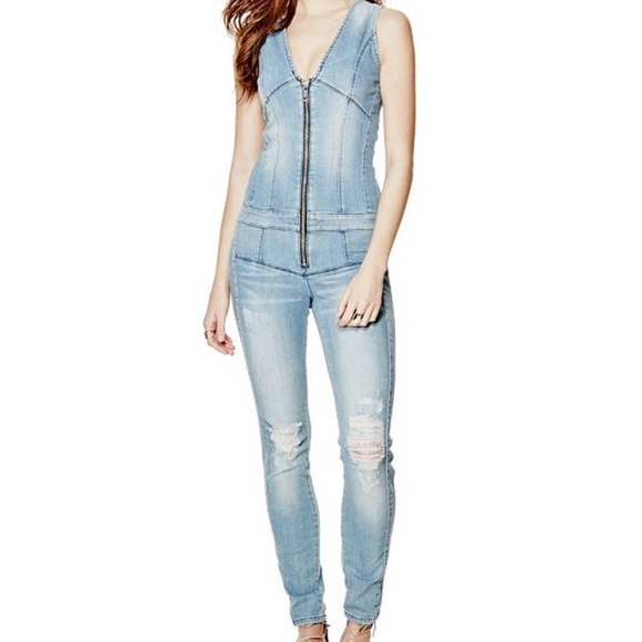 f1ce0d5c73a0 Guess Pants - GUESS Maxine ripped zip-up Jean denim Jumpsuit